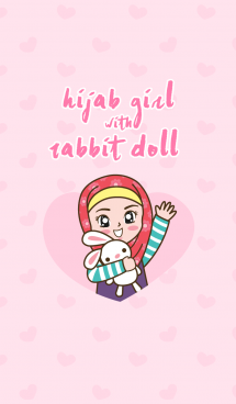 Hijab Girl with Rabbit Doll. 画像(1)